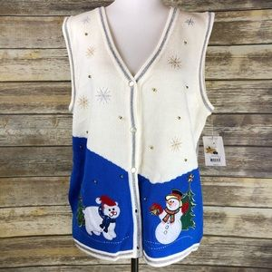Ugly Christmas Sweater Button Down Vest why/Blue L
